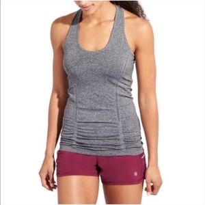 Athleta Fast Track Racerback Ruched Gray Tank Top